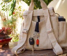 Womens backpack. Women rucksack. Multi pocket backpack. Hemp backpack. Beige backpack. Durable backpack. Daily backpack. Everyday backpack. Key fobs. Bag with key fob. Beige Backpacks, College Gifts, Backpack For Teens, Kangaroo Pouch, Everyday Bag, Key Fobs, Travel Gifts, Cool Logo, Travel Backpack