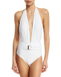 Lenny Niemeyer - Belted Halter Maillot One-Piece #Swimsuit, White.