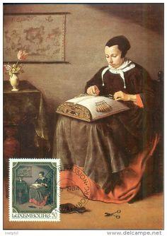 """CM-Carte maximum card 1984 - Luxembourg, painting by Pieter van Slingelandt """"la Dentellière"""" ."""