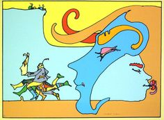 Peter Max. Note the subtle contours of the faces and his grasp of emphasizing the cartoon-like look of the people while balancing a very full life like linework
