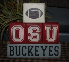 OSU Buckeyes UGA Get Em Dawgs School Pro Sports Team University College Wood Letter Shelf Sign Blocks Primitive Country Rustic Home Decor. $33.95, via Etsy.