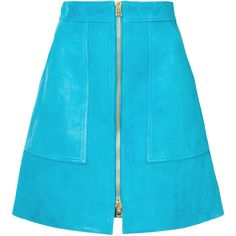 Diane Von Furstenberg front zip skirt (4 885 PLN) ❤ liked on Polyvore featuring skirts, mini skirts, bottoms, blue, front zipper skirt, diane von furstenberg skirt, blue high waisted skirt, short mini skirts and blue skirt