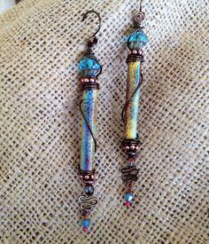 Enameled Copper Earrings by Wendy Kay Designs.