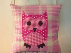 PINK OWL VINTAGE WOOL BLANKET CUSHION COVER