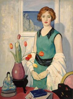 'Portrait with Still Life' by British painter George Telfer Bear (1874-1973). via the Skinny  Order an oil painting of your pet now at www.petsinportrait.com