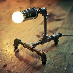 steel pipe steampunk desk lamp