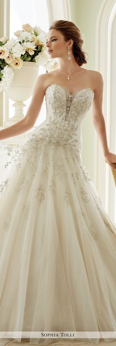 Sophia Tolli Fall 2016 Wedding Gown Collection - Style No. Y21670 Venezia - strapless tulle A-line wedding dress with hand-beaded bodice and dropped waist