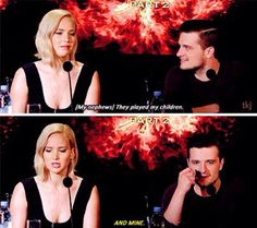 Josh and Jennifer Hunger Games Cast, Hunger Games Fandom, Hunger Games Humor, Hunger Games Catching Fire, Hunger Games Trilogy, Josh And Jennifer, Jennifer Laurence, Birthday Interview Questions, Mockingjay Book
