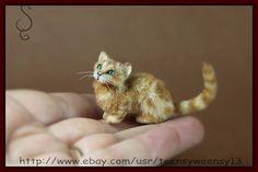OOAK Dollhouse Miniature Pet Ginger Cat Head Turn Flocked Handmade Animal 1 12   eBay