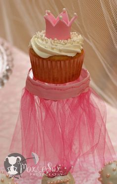 Princess Cupcake - has me thinking, how cute to put the cupcake on top of a mason jar that looks like a tutu (mason jar could be filled with goodies/candy/cookie mix/favor...have dessert and take your favor...