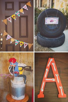 Vintage Garage Inspired Adult Birthday Party // Hostess with the Mostess® 1st Birthday Boy Themes, Birthday Party Decorations For Adults, Adult Birthday Party, Dad Birthday, Birthday Ideas, Vintage Car Party, Car Themed Parties, Race Party, Baby Shower