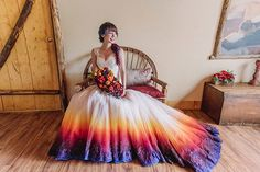 Dip Dye Wedding Dress Trend Will Make Your Big Day More Colorful - If you're tired of all-white traditional wedding dresses - dip it in some dye or airbrush it. We're not joking! This dip dye wedding dress trend . Dip Dye Wedding Dress, Wedding Dress Trends, Colored Wedding Dresses, Wedding Colors, Wedding Gowns, Hippie Wedding Dresses, Rainbow Wedding Dress, Rainbow Dresses, Wedding Skirt