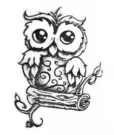 cute owl drawings black and white - Google Search