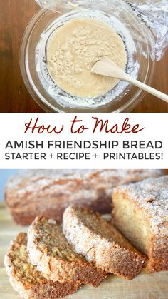 Everything You Need to Make Amish Friendship Bread Come and get it! ♥ I've got your Amish Friendship Bread starter recipe and the original bread recipe, plus instructions, gift tags, pantry checklist, and other FREE printables! Friendship Cake, Friendship Bread Starter, Amish Friendship Bread, Amish Bread Recipes, Baking Recipes, Bread Maker Recipes, Pan Amish, Original Bread Recipe, Amish Bread Starter