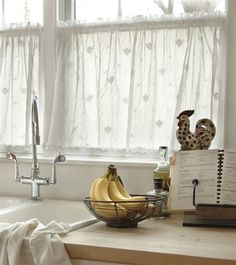 Tier Curtains Honeybee Trimmed Tier Curtains - Country Curtains® Babs needs these in her kitchen! Tier Curtains, Valance Curtains, Ruffle Curtains, Curtain Panels, Bed Design, House Design, Country Curtains, Window Coverings, Window Treatments