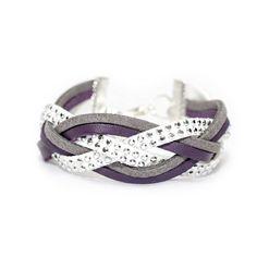 Bracelet Manchette multirang tressé en suédine/daim  - Blanc, gris et violet