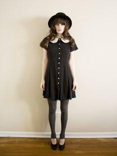 Black Peter Pan collar button dress
