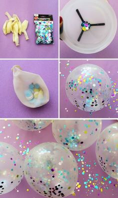Bring some sparkle to any party by adding confetti to your clear balloons! Thanks to Gleam It Up for this great idea! #GlitterParty #diypartydecorationsglitter