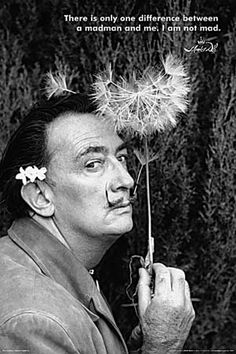 Port Lligat, October Dali holding the Dandelion flower, symbol of knowledge. Jean Arp, Alberto Giacometti, Rene Magritte, Joan Rivers, Joan Miro, Pablo Picasso, Max Ernst, Famous Artists, Great Artists