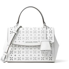 MICHAEL Michael Kors Ava XS Laser-Cut Crossbody Bag (805 ILS) ❤ liked on Polyvore featuring bags, handbags, shoulder bags, michael michael kors crossbody, crossbody handbags, floral purse, floral crossbody purse and white crossbody purse