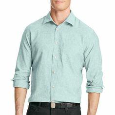 Cubavera Band Collar Linen Shirt Casual Button Down