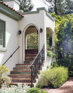 Wrought iron railing on Spanish style home.