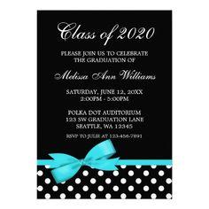 Teal Bow Polka Dots Graduation Announcement