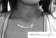 Personal Signature Necklace Sterling Silver Hand by bigEjewelry