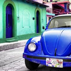 Square Collection - Blue VW Beetle Car and Colorful House by Philippe Hugonnard : Beetle Car, Tropical Art, Beach Landscape, Vw Beetles, Professional Photographer, House Colors, In This Moment, Pure Products, Colorful