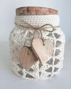 Frasco Crochet Corazon Mediano
