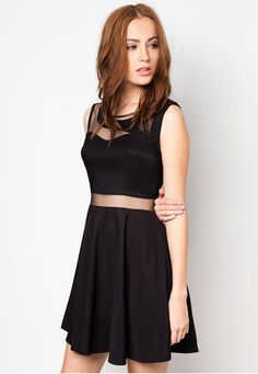Panel Mesh Fit And Flare Dress