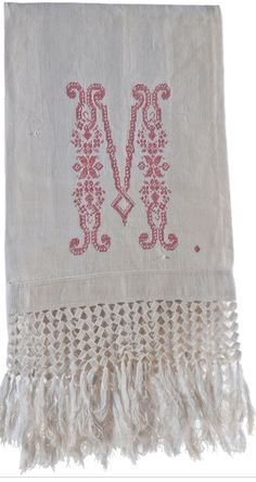 Antique embroidered linen hand towel