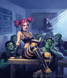Zombies pink badass girl  by James Ryman