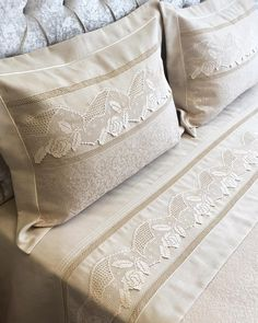 Likes 379 Comments Altınmakas Tekstil & Tasarım ( on Bed Sheet Sets, Bed Sheets, Bohemian Bedroom Decor, Linens And Lace, Boho Pillows, Upcycled Vintage, Ribbon Embroidery, Bed Covers, Crochet Lace