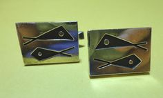 """Vintage 1950s Modernist Everett MacDonald Sterling Silver Cufflinks  A very Unique pair of Everett Macdonald cufflinks. Very modernistic style from the 1950's. Marked sterling on back side and Macdonald on each back. 1"""" by 1/2"""".."""
