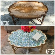 A shiny table makeover using spray paint, 10 bags of marbles, and super glue!