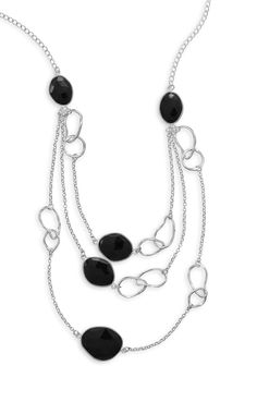 Graduated Triple Strand Black Onyx Necklace