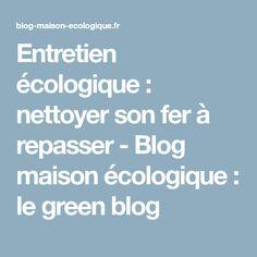 Entretien écologique : nettoyer son fer à repasser - Blog maison écologique : le green blog