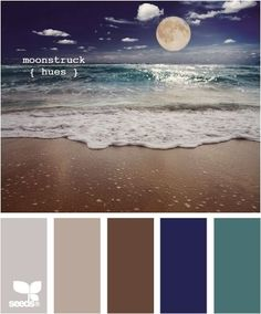 moon on the beach colours, blues, bronze, neutral