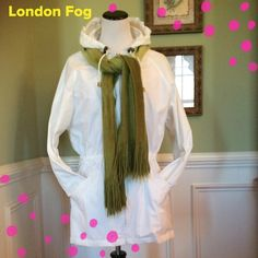 """White London Fog Hooded Jacket Excellent Condition light weight hooded jacket. Top half of jacket is lined. Pull strings around the hood and waist for a sure fit. Zip front. Accent buttons on sleeves. Great Buy!!  Length is 30"""". Scarf is not included. London Fog Jackets & Coats Trench Coats"""