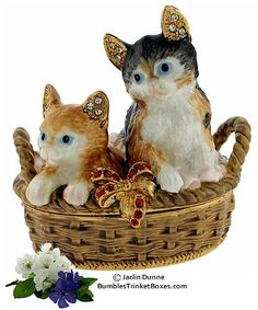 Kittens in a Basket Limoges Trinket Box