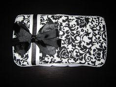 Black and White Damask Baby Wipe Case. $8.00, via Etsy.
