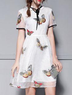 #AdoreWe #StyleWe Dresses - YASHIYUE Butterflies Embroidered Short Sleeve Organza Midi Dress - AdoreWe.net