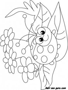 Print out happy face ladybug coloring page - Printable Coloring Pages For Kids
