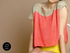 knitted sweater top beige coral cotton viscose by THEKNITKID