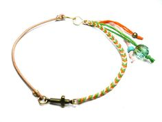 Braided Friendship Bracelets - Leather cotton cross