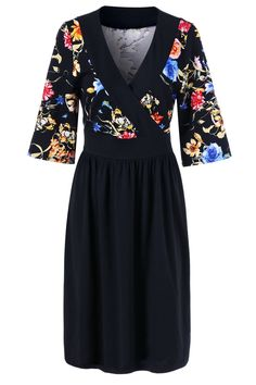 $18.88 Plus Size Floral Surplice Dress - Black
