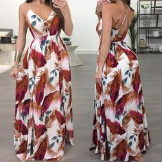 Caged Strappy Backless Leaf Print Maxi Slip Dress Plus Size Maxi Dresses, Nice Dresses, Casual Dresses, Summer Dresses, Women's Fashion Dresses, Dress Outfits, African Attire, Kawaii Fashion, Style