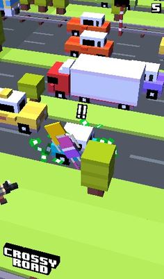This my celebrity !!! Looks painful dosent it ?!? The game is called crossy road one of the most addicting games ever !!!!!!! By Bella