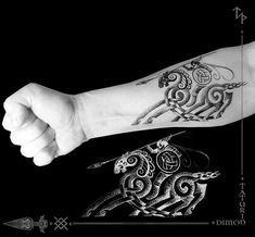 Image may contain: one or more people Viking Tattoo Symbol, Norse Tattoo, Celtic Tattoos, Viking Tattoos, Left Arm Tattoos, Tribal Arm Tattoos, Dot Tattoos, Sleeve Tattoos, Dragon Tattoo Design Simple